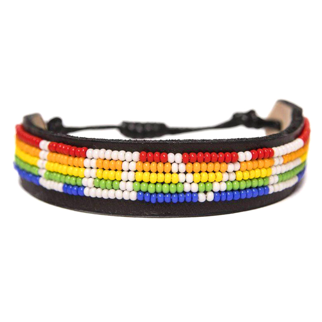love is project rainbow love beaded adjustable bracelet front view