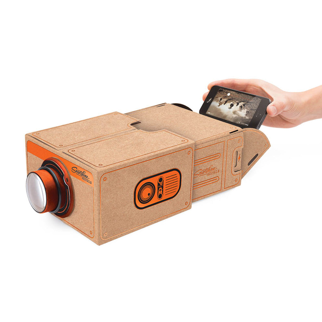 luckies of london smartphone projector 2.0 copper cinema in a box inserting phone