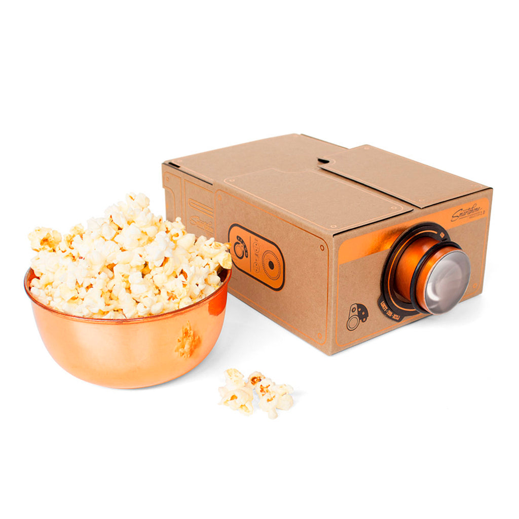 luckies of london smartphone projector 2.0 copper cinema in a box with popcorn