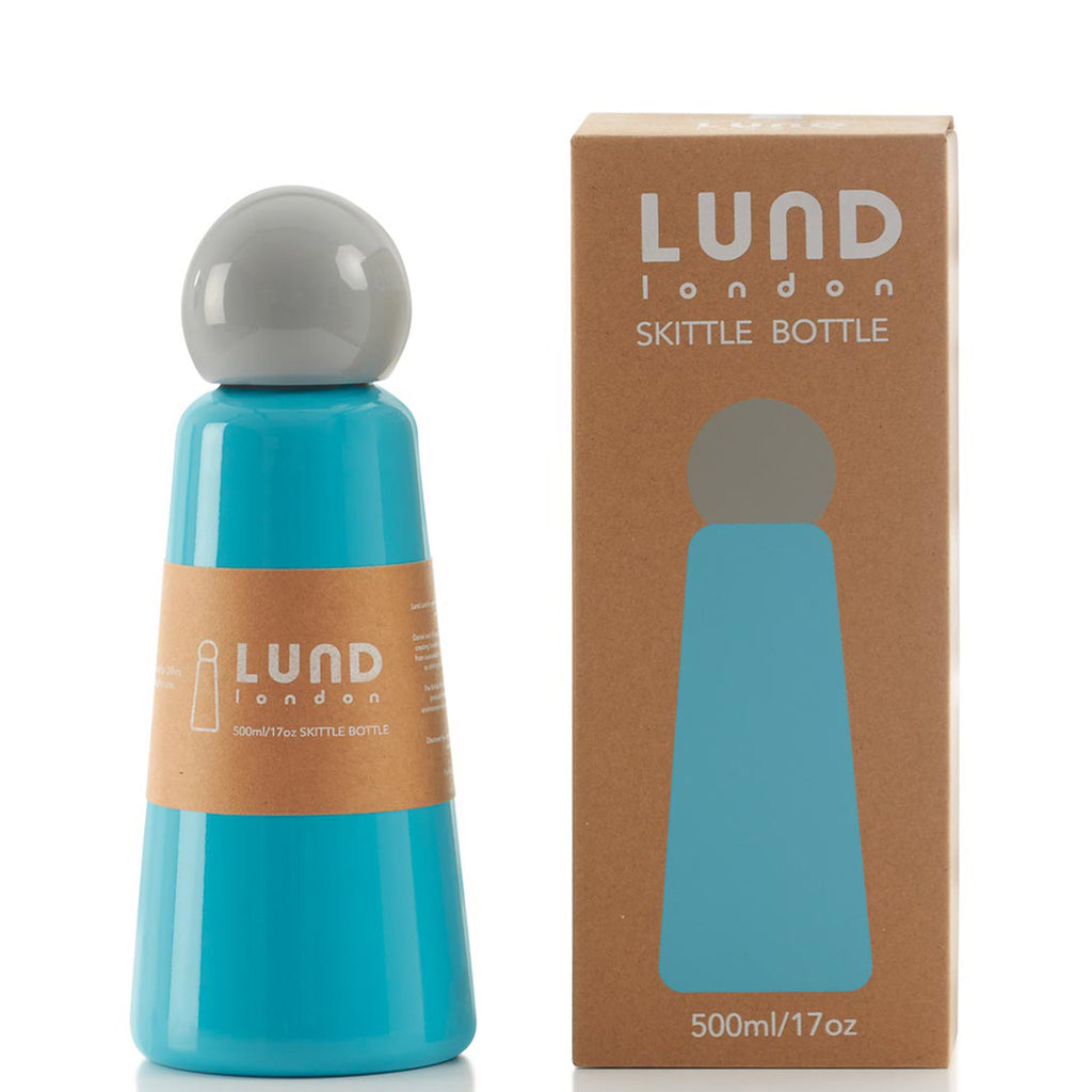 lund london 17 ounce skittle reusable insulated stainless steel sky blue water bottle with grey lid front view with packaging