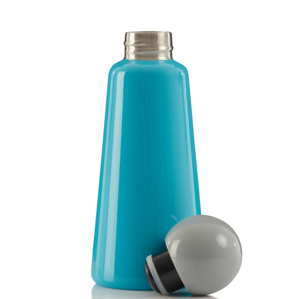 lund london 17 ounce skittle reusable insulated stainless steel sky blue water bottle with grey lid front view
