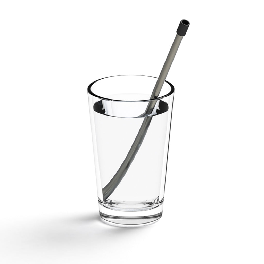 lund london skittle straw for life reusable metal sipping straw in indigo blue case with white lid in glass of water