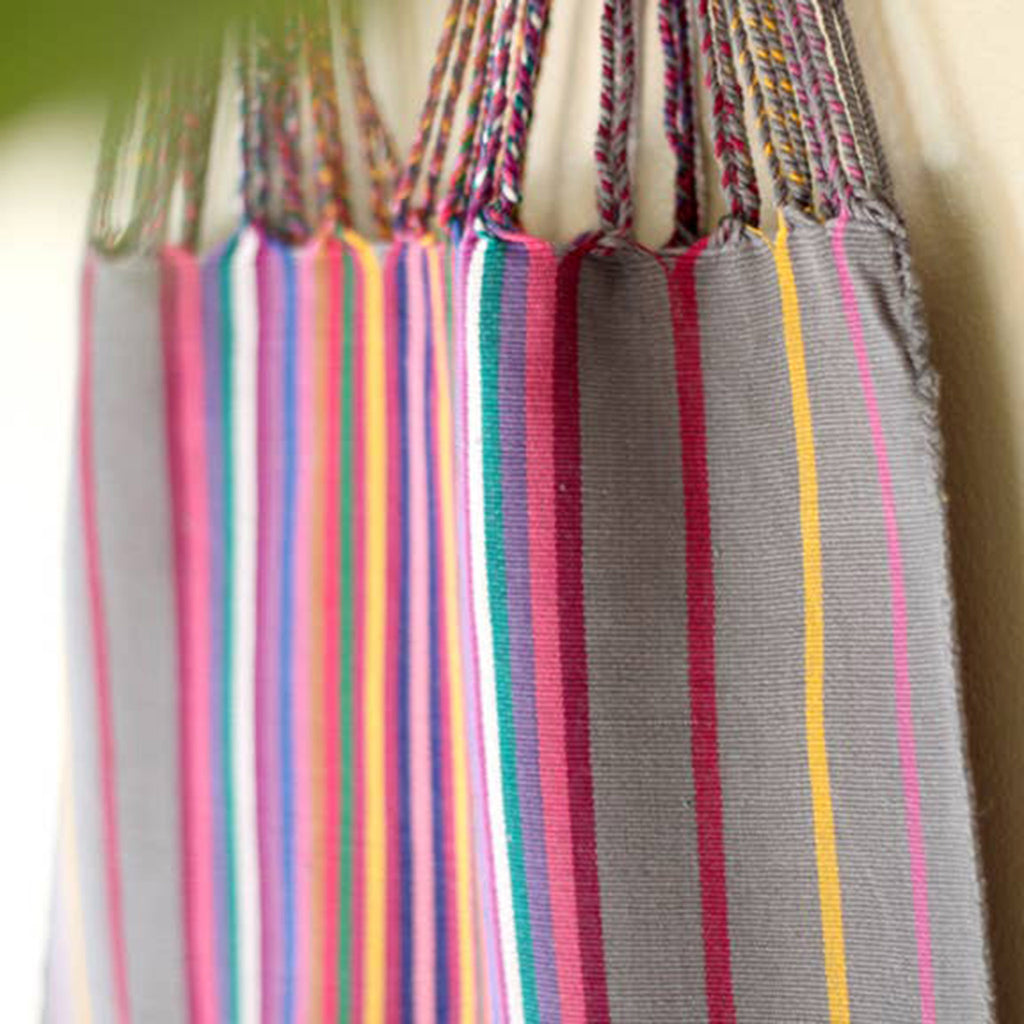 luz collection las rayas hand woven cotton tote bag in grey with rainbow stripes detail