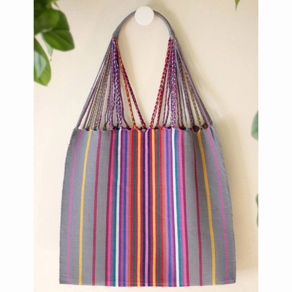 luz collection las rayas hand woven cotton tote bag in grey with rainbow stripes