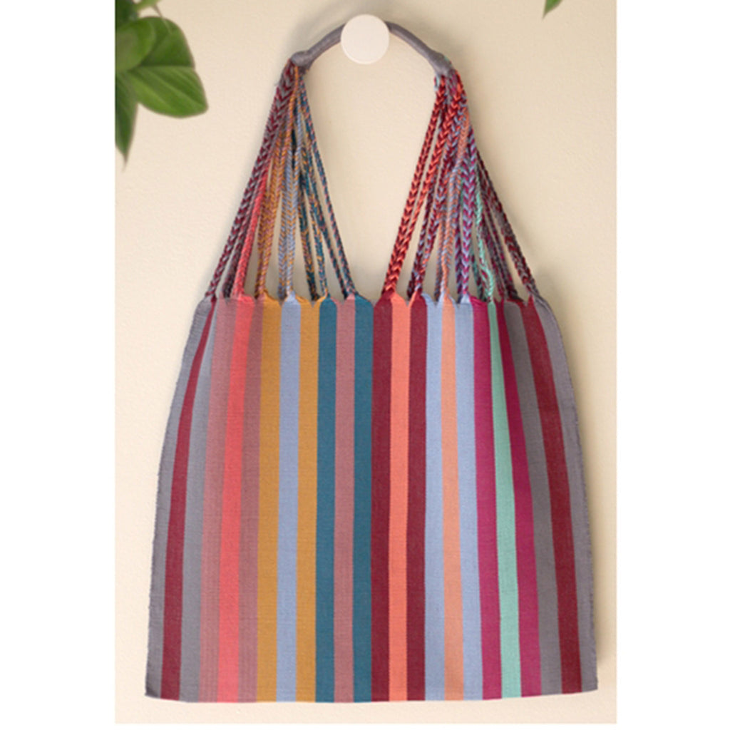luz collection las rayas hand woven cotton tote bag in gruesita grey with muted stripes
