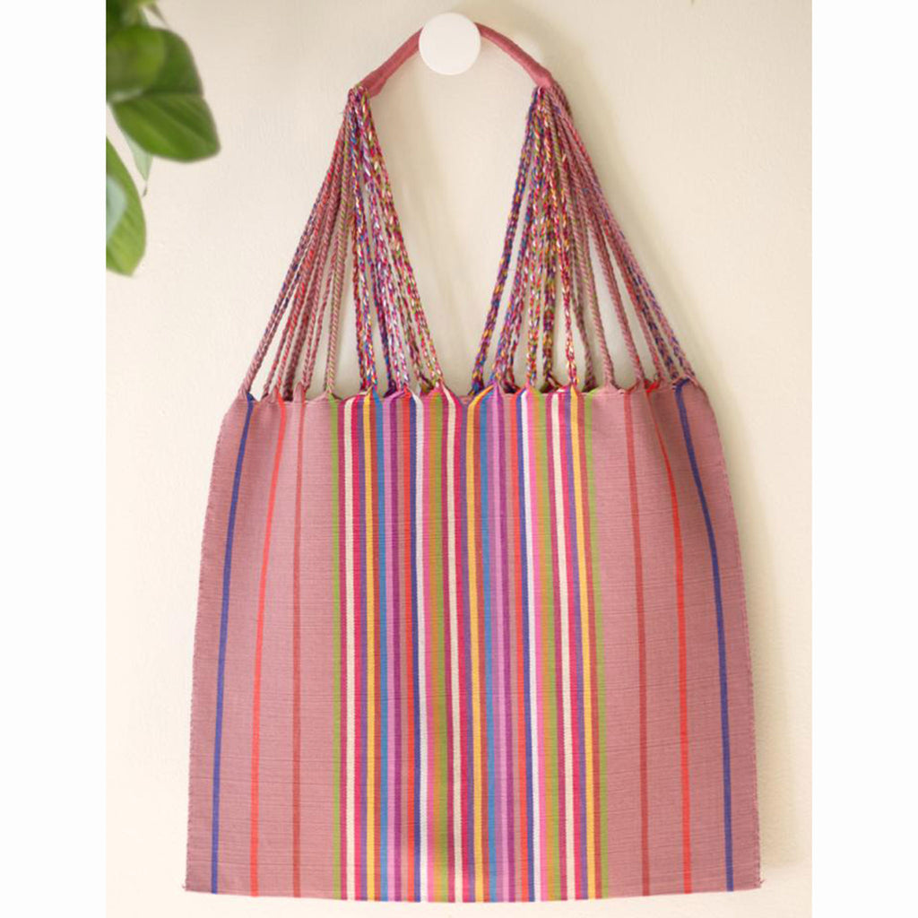 luz collection las rayas hand woven cotton tote bag in palo de rosa with rainbow stripes