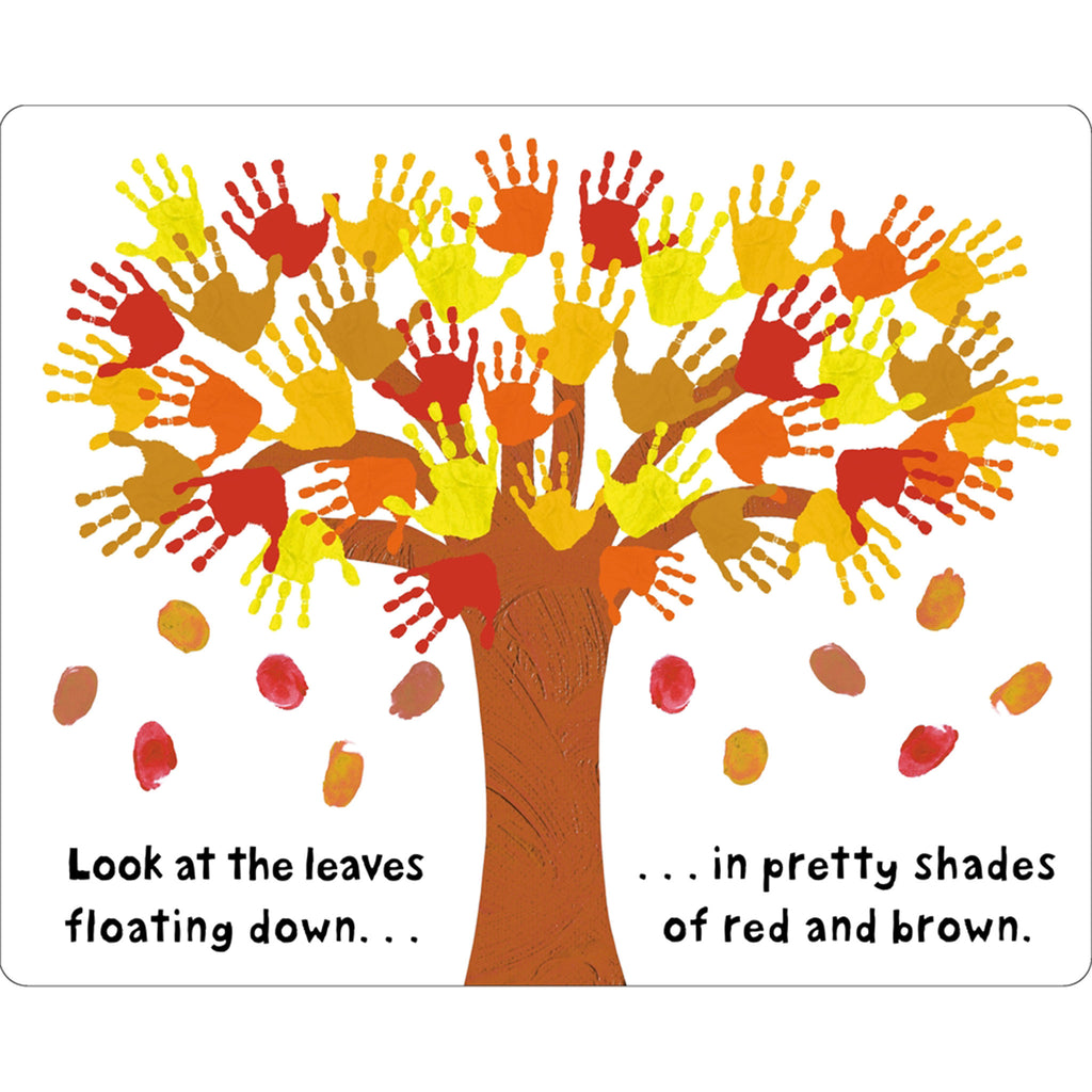 macmillan see touch feel happy thanksgiving interactive baby toddler board book sample fall leaves page