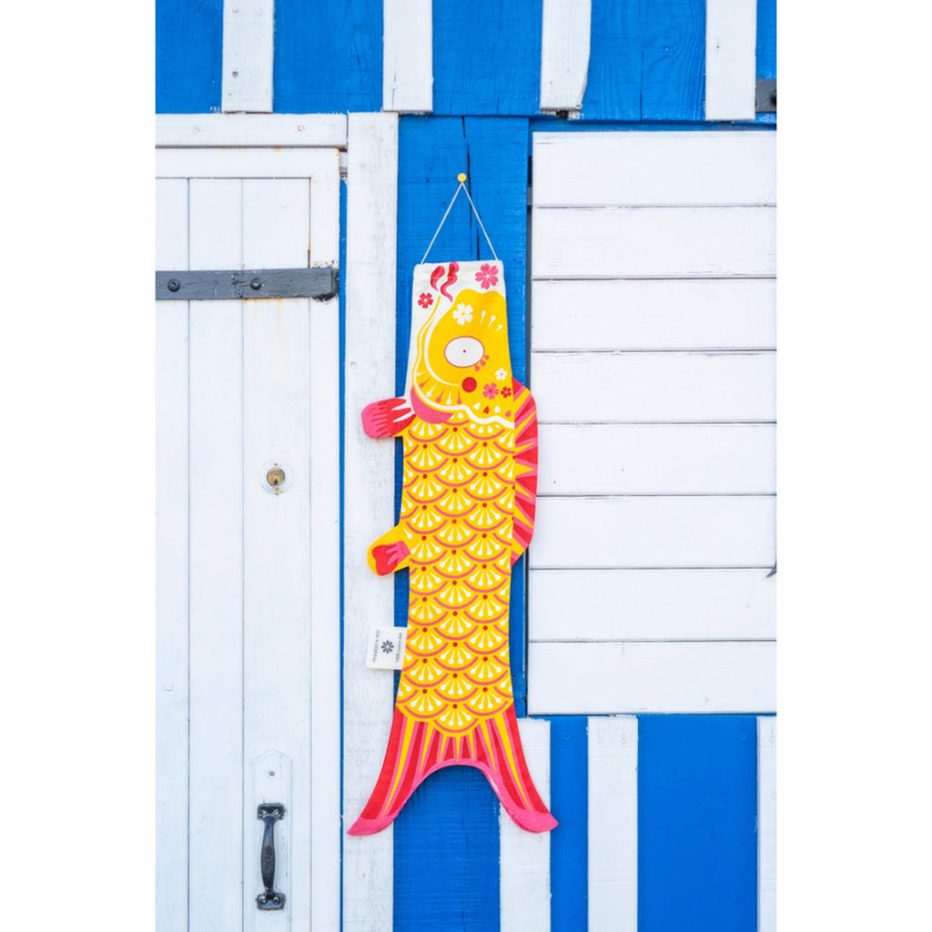 madame mo koinobori koi fish windsock organic cotton indian yellow size small lifestyle