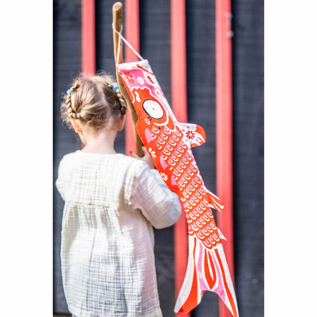 madame mo koinobori koi fish windsock organic cotton joyful red size small lifestyle