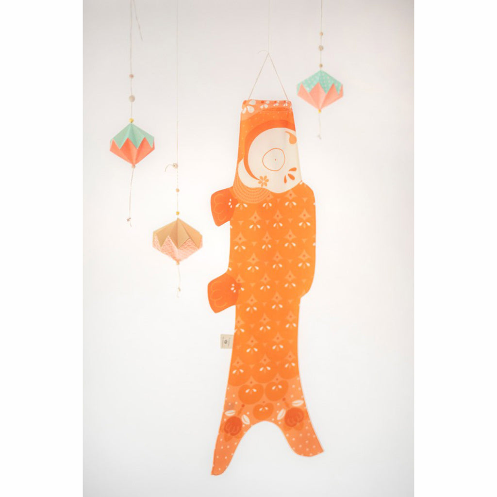 madame mo koinobori koi fish windsock organic cotton mandarin orange size small lifestyle