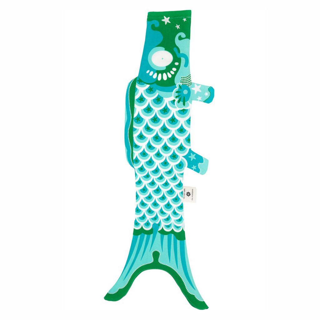 madame mo koinobori koi fish windsock organic cotton turquoise size medium
