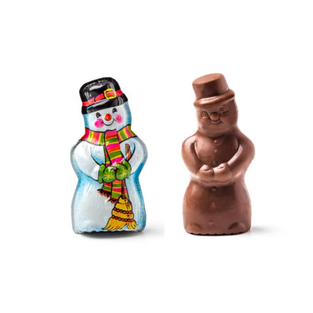 madelaine 1.5 ounce decorative foil wrapped snowman christmas semi-solid milk chocolate holiday candy