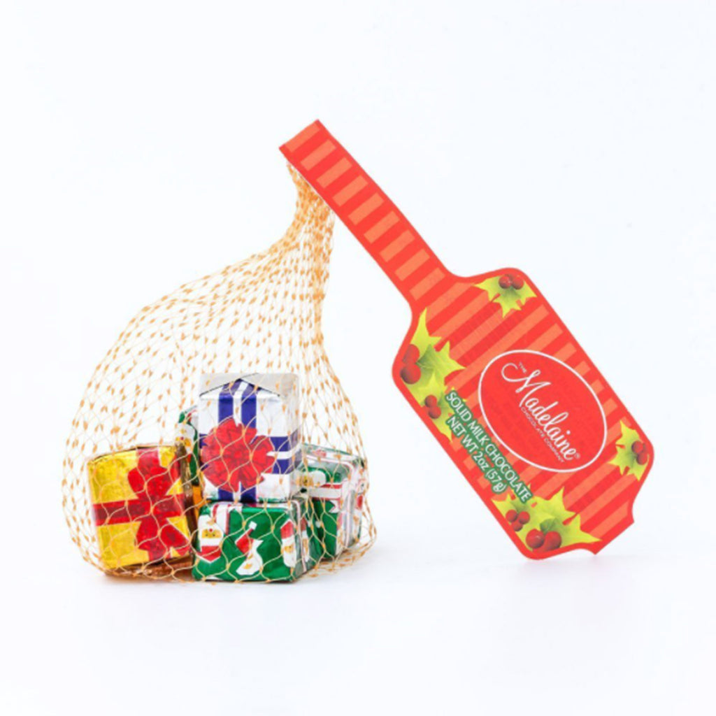 madelaine two ounce decorative foil wrapped premium solid milk chocolate christmas presents in mesh bag holiday candy