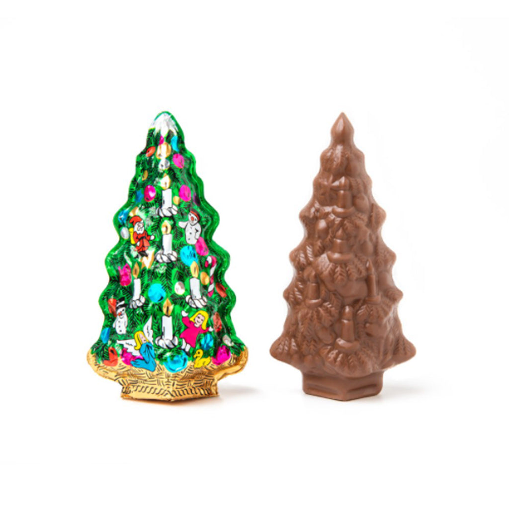 madelaine 2.5 ounce decorative foil wrapped christmas tree made from premium semi-solid milk chocolate holiday candy