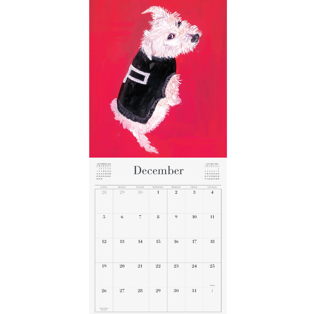maira kalman calendar sample page with a white dog wearing a black sweater on a red background
