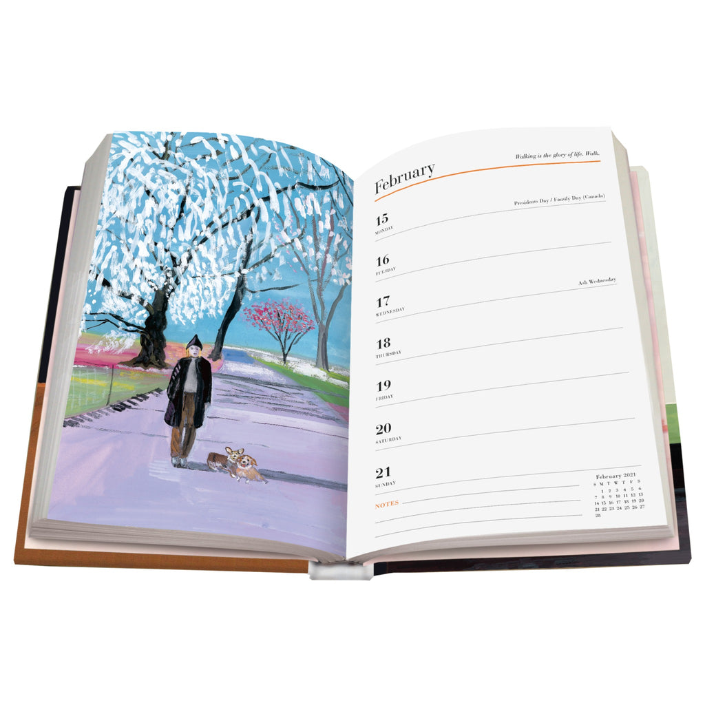 maira kalman weekly planner sample page with an color illustration on one page and weekly agenda on the opposite