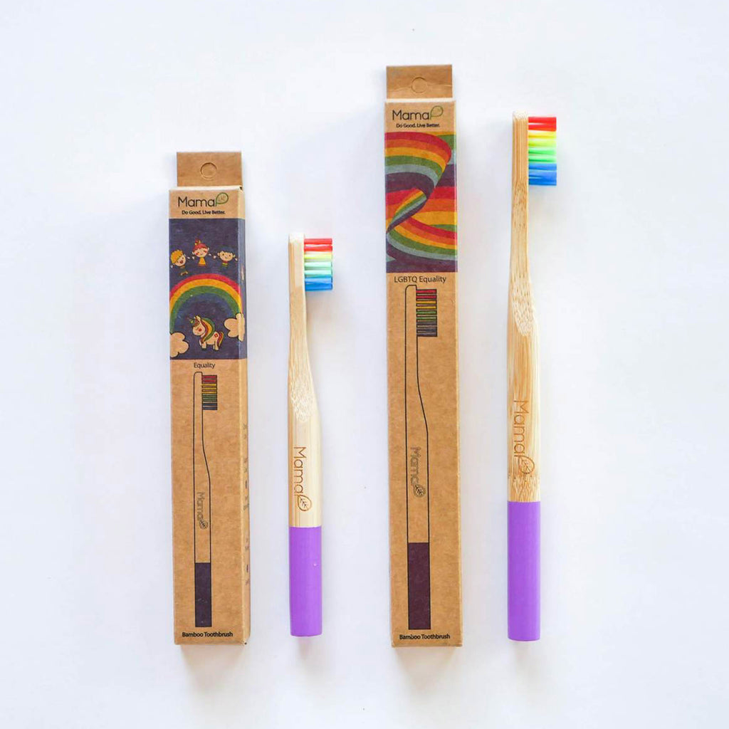 mamap adult and kid sizes rainbow eco-friendly bamboo toothbrushes with rainbow bristles with packaging