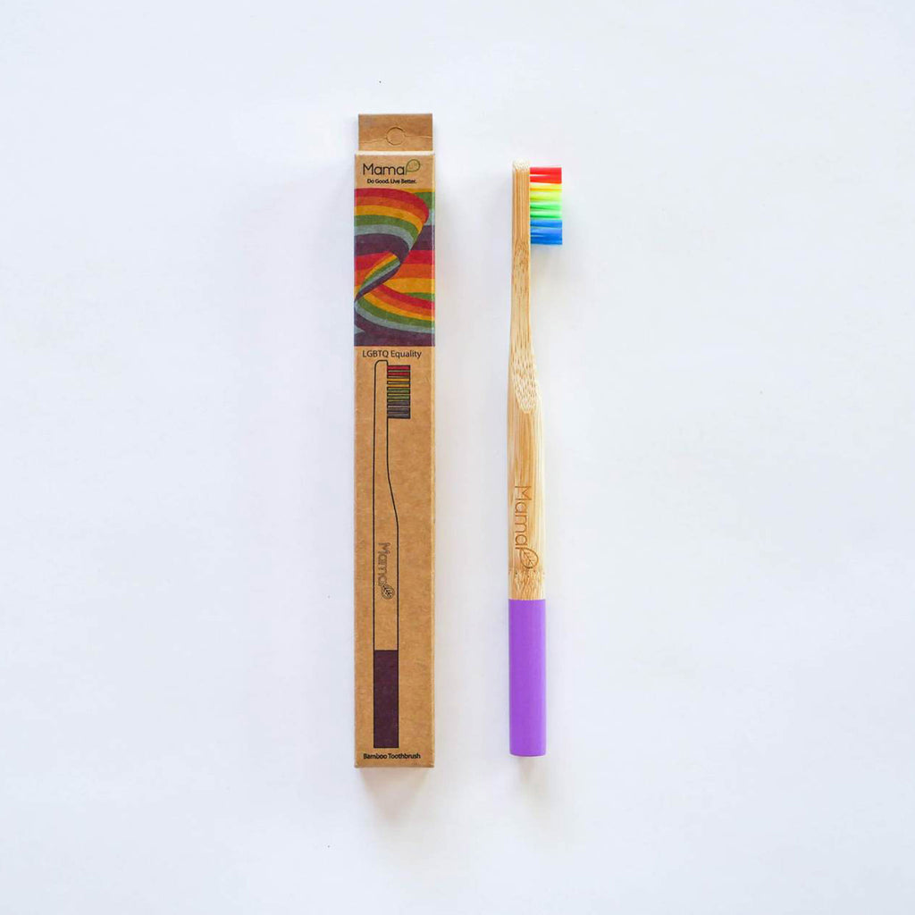 mamap adult sized rainbow eco-friendly bamboo toothbrush with rainbow bristles with packaging