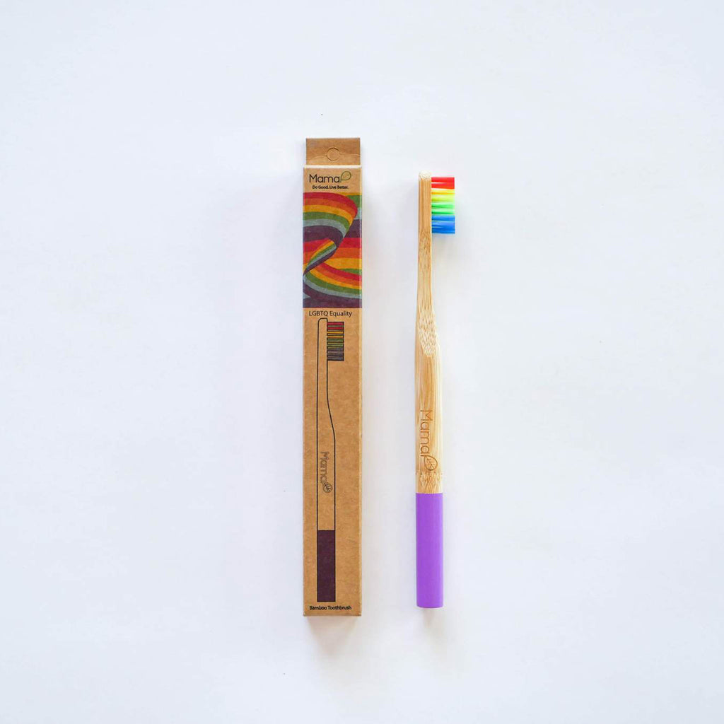mamap kid sized rainbow eco-friendly bamboo toothbrush with rainbow bristles with packaging