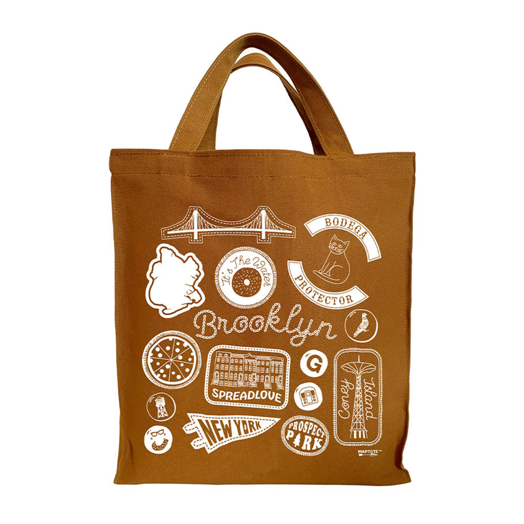 maptote brooklyn reusable caramel cotton canvas shopper tote bag
