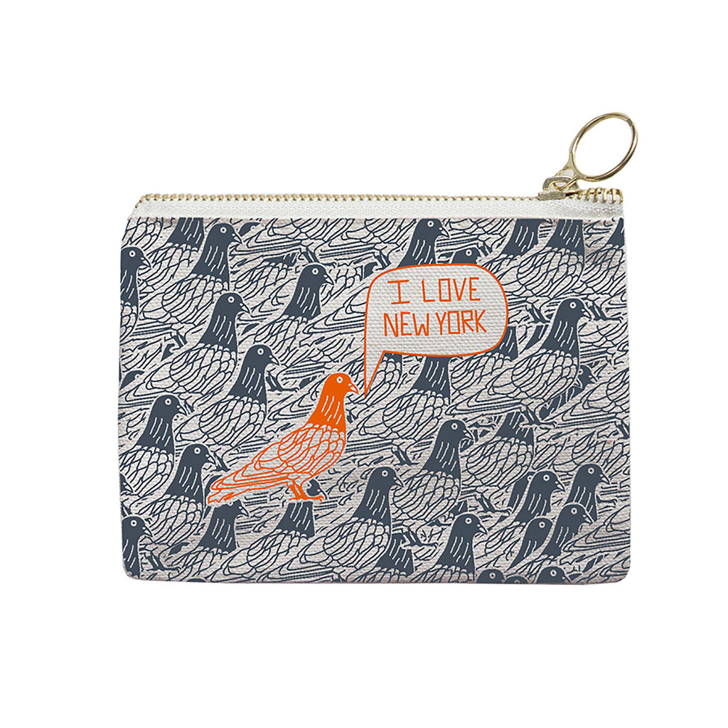 maptote nyc coin purse with pigeon in orange