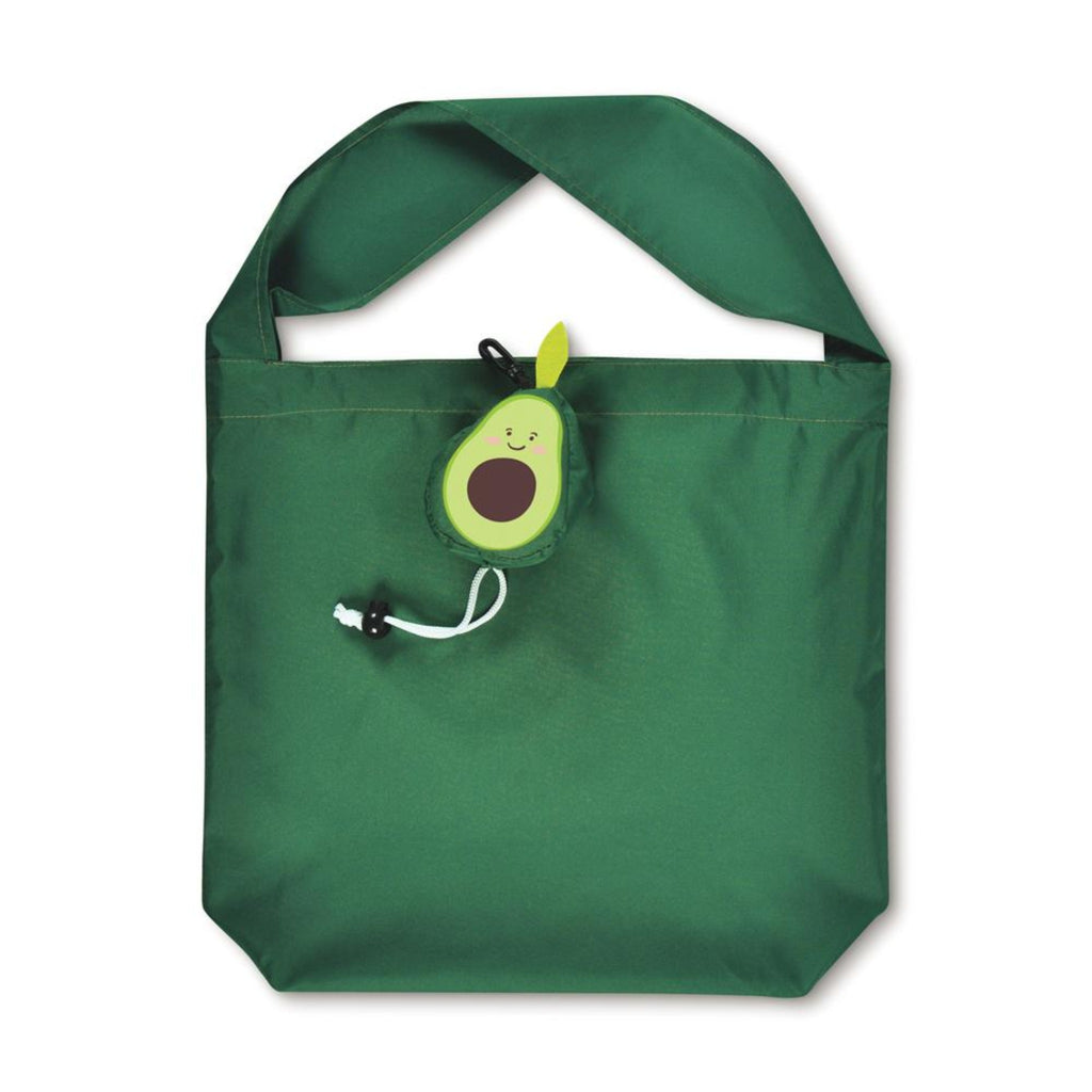 green reusable shopping bag with single strap and attached avocado shaped pouch