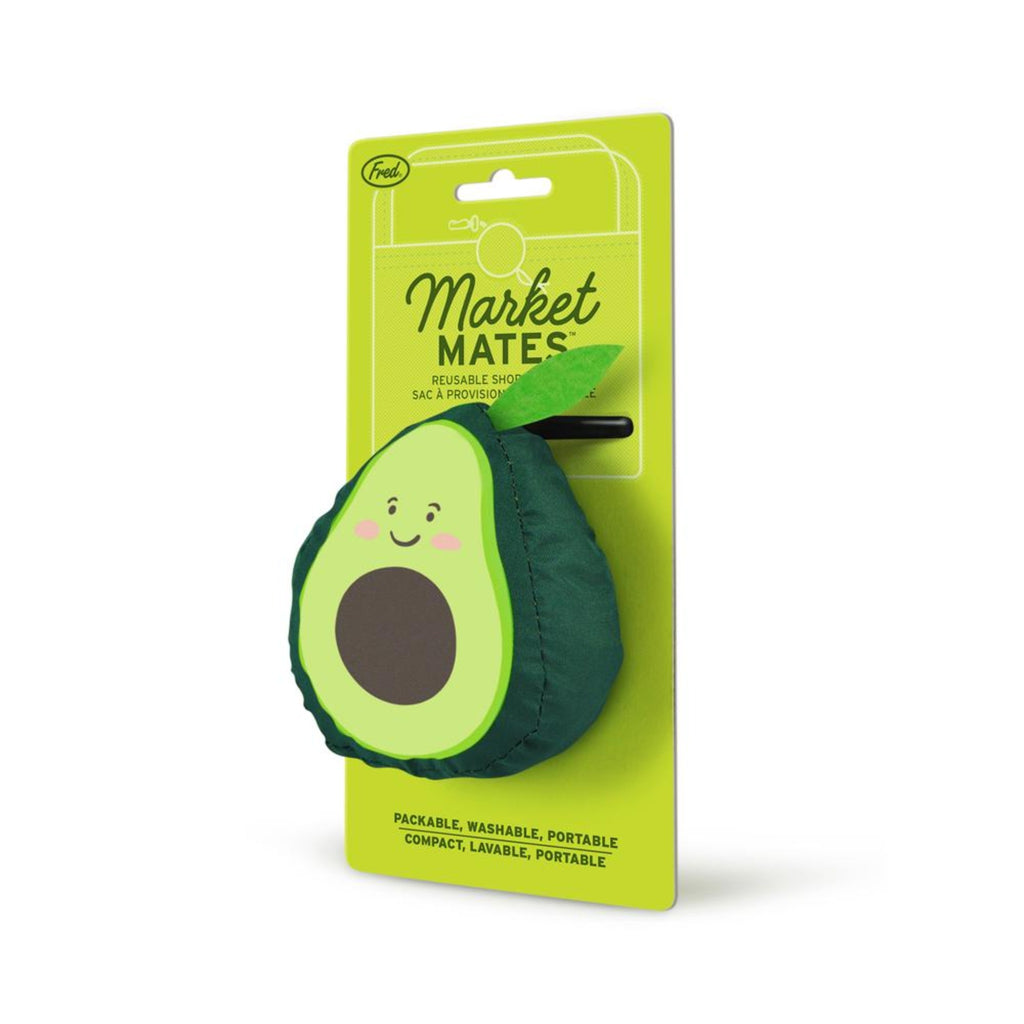 reusable shopping tote in an avocado shaped pouch on green card