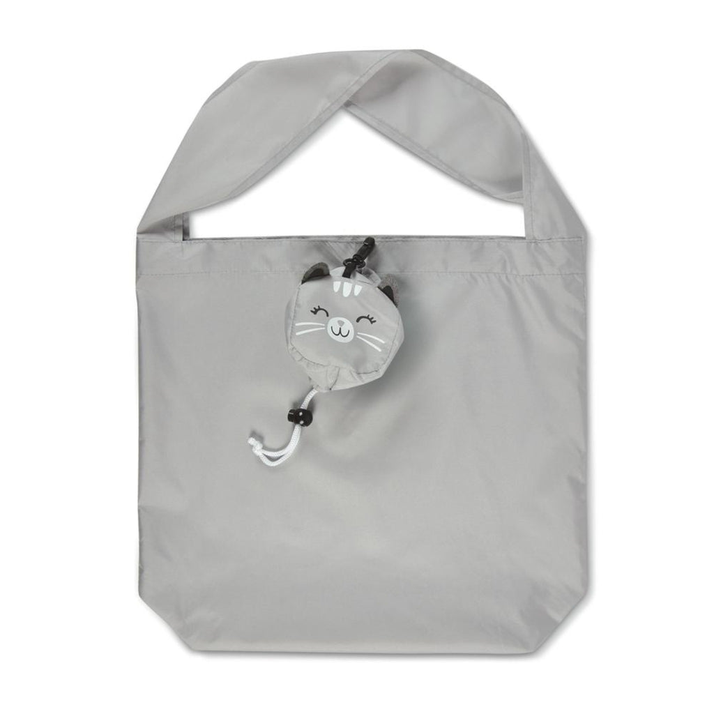 unfolded grey reusable shopping tote with single strap and cat head shaped pouch