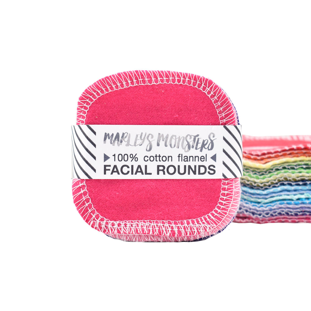 marley's monsters reusable cotton facial rounds mixed rainbow colors 20 pack stack