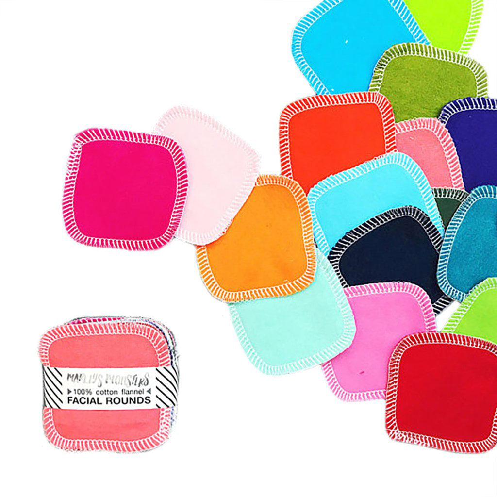 marley's monsters reusable cotton facial rounds mixed rainbow colors 20 pack