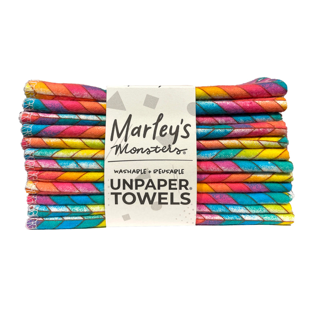 marley's monsters washable reusable cloth unpaper towels twelve pack in rainbow chevron print side view