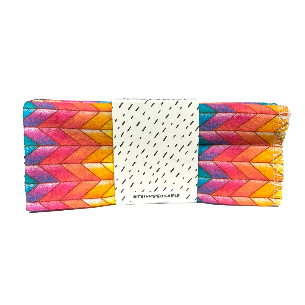 marley's monsters washable reusable cloth unpaper towels twelve pack in rainbow chevron print top view