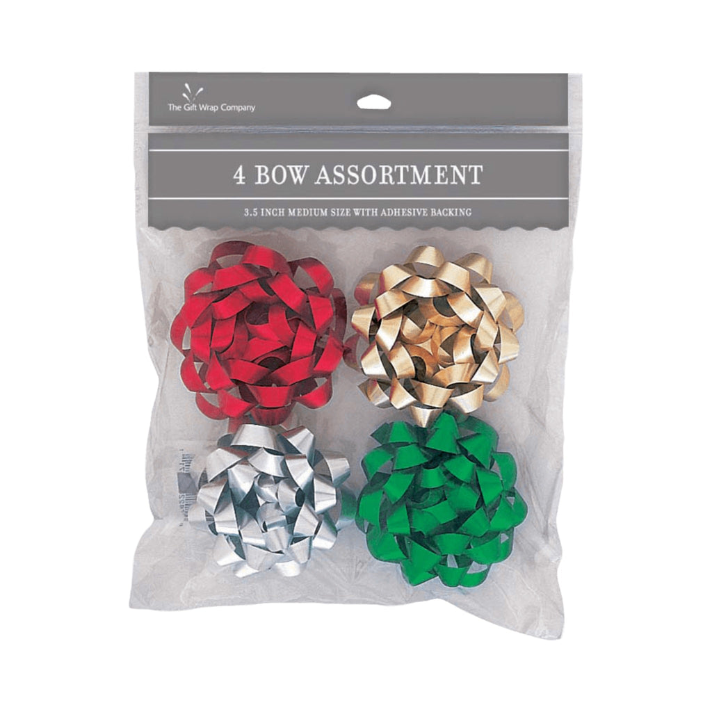 "set of 4 matte metallic 3.5"" bows in red, green, gold, and silver."