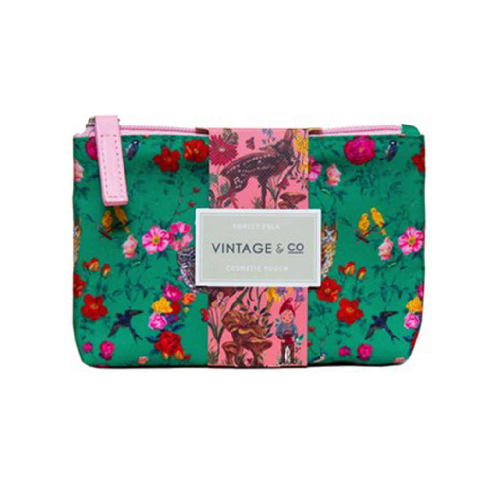 mcardle co nathalie lete illustrated green and pink cosmetic pouch