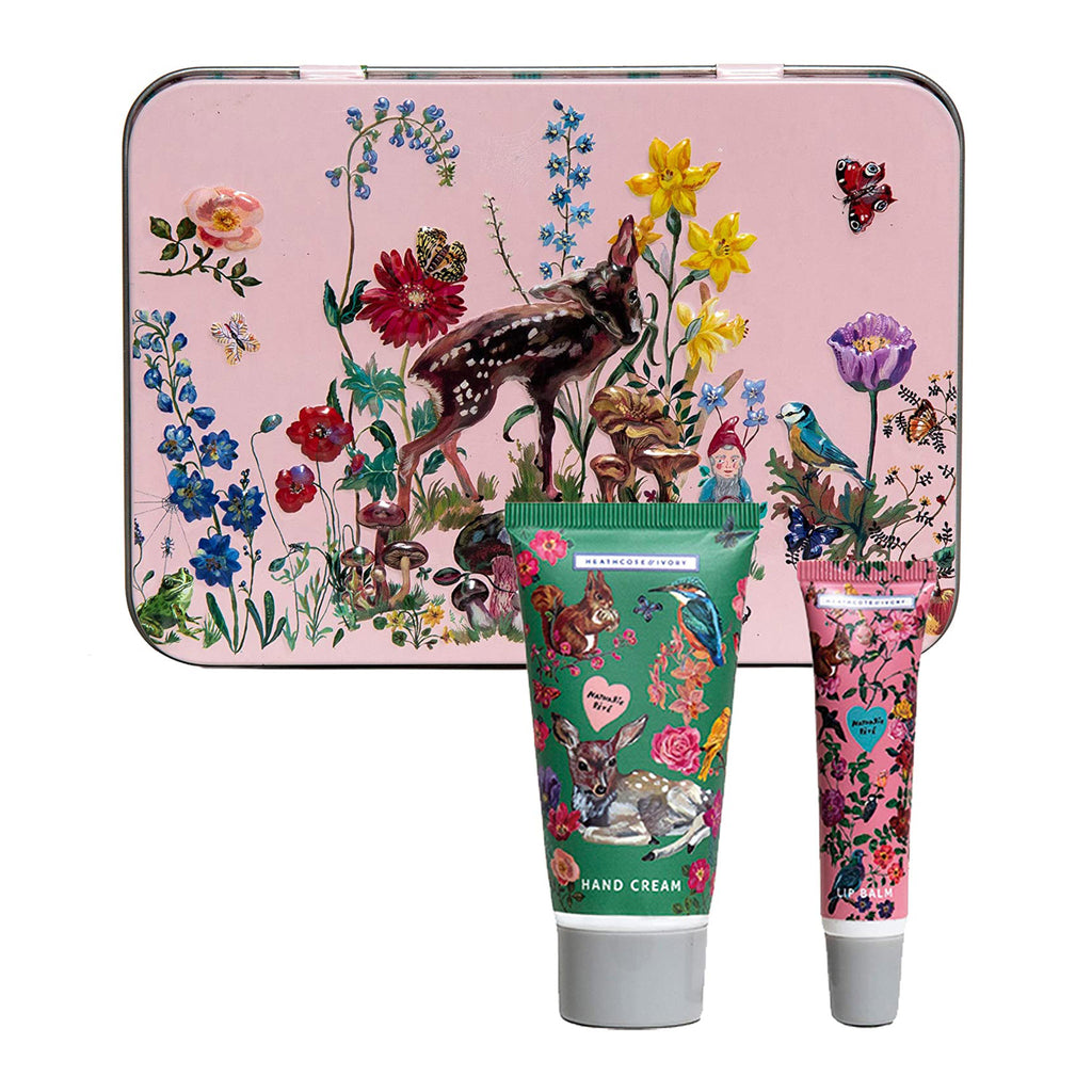 mcardle co nathalie lete illustrated hand cream and lip balm gift set in pink tin