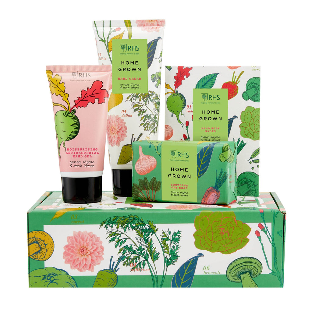 mcardle rhs home grown limited edition care gift for hands with contents on top of packaging
