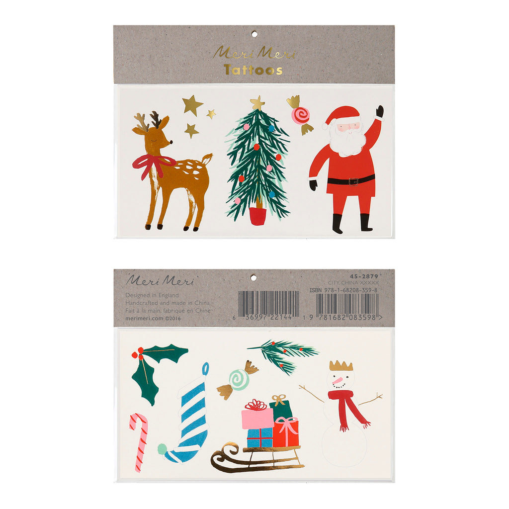 meri meri christmas motif temporary tattoo sheets holiday party supplies in packaging