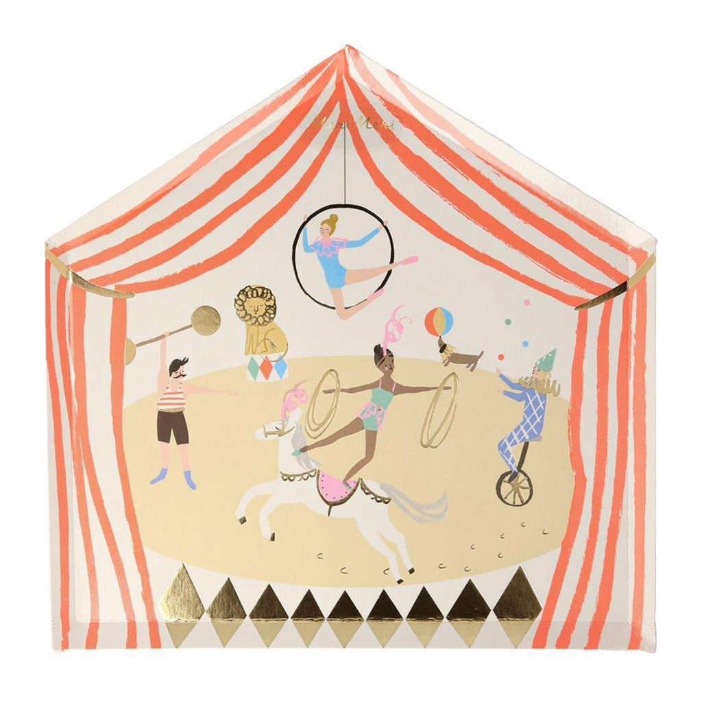 meri meri circus parade party dinner plates tent shaped with circus performers