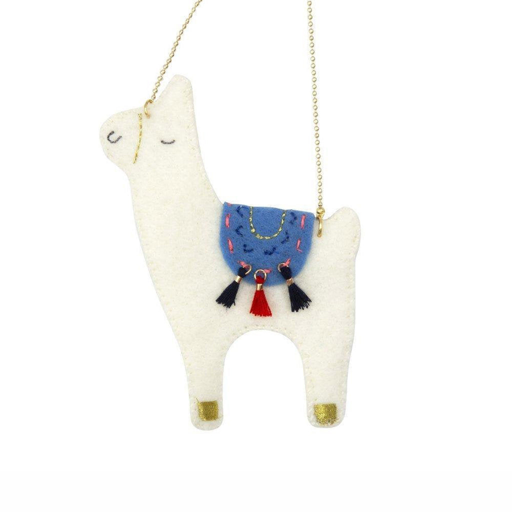 meri meri llama felt necklace white with blue blanket red and white tassels