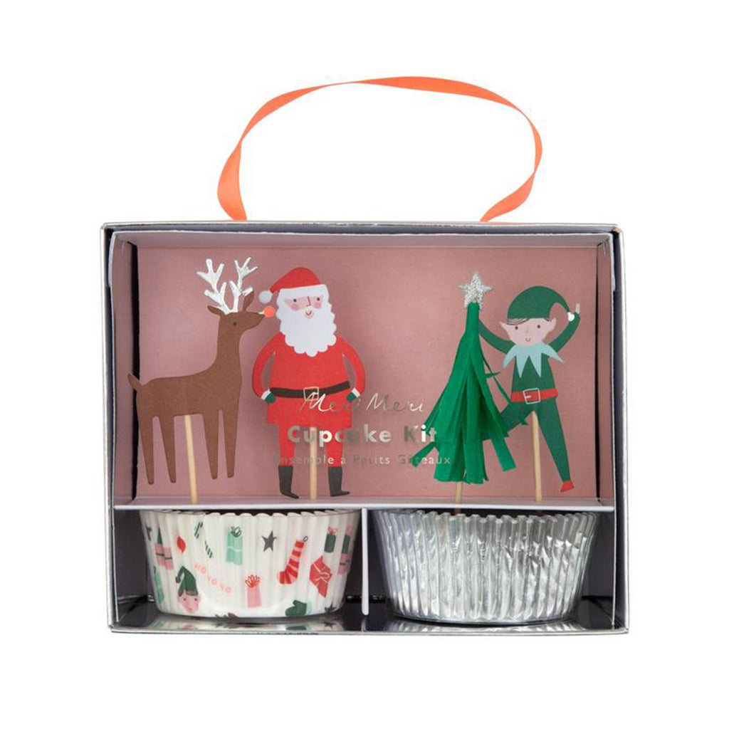 meri meri festive christmas icons cupcake decorating kit holiday baking party supplies in packaging