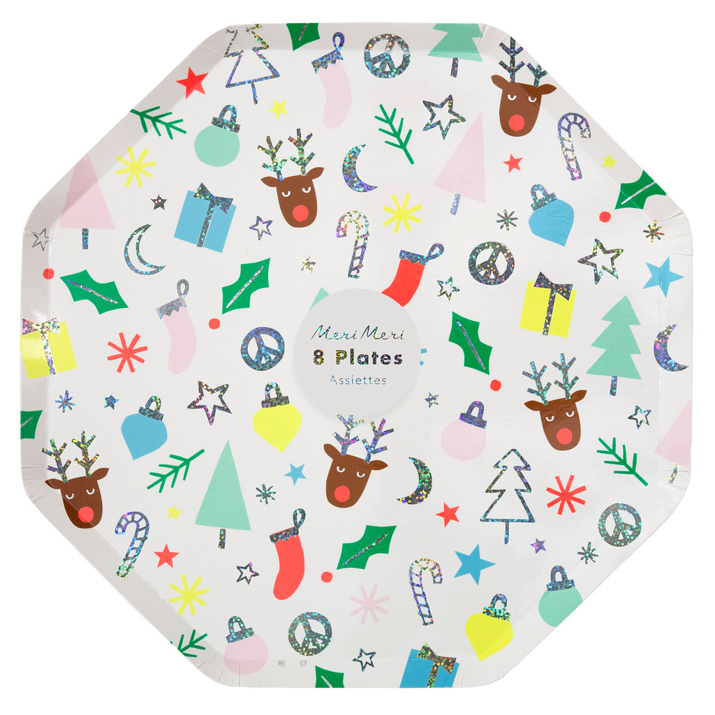 meri meri festive fun holiday party dinner plates in packaging