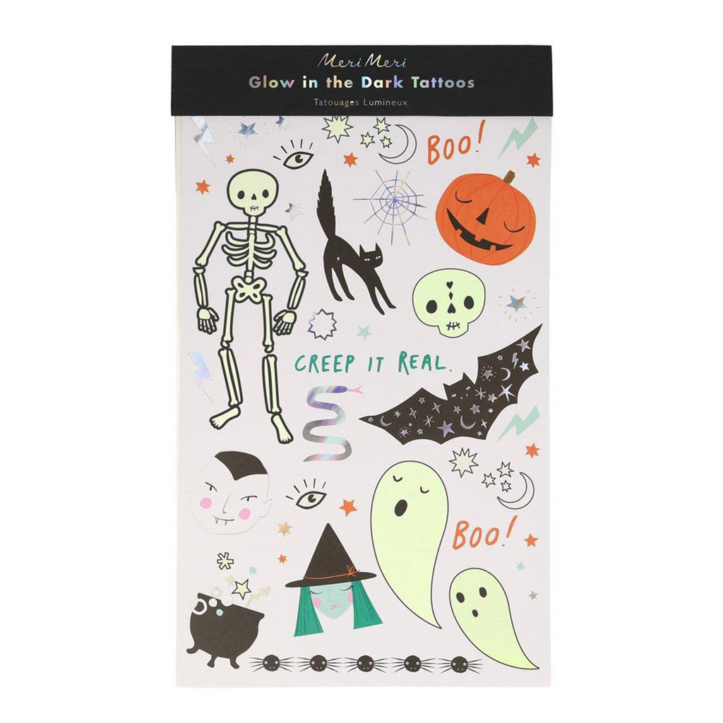 meri meri halloween glow in the dark temporary tattoo sheets party supplies in packaging