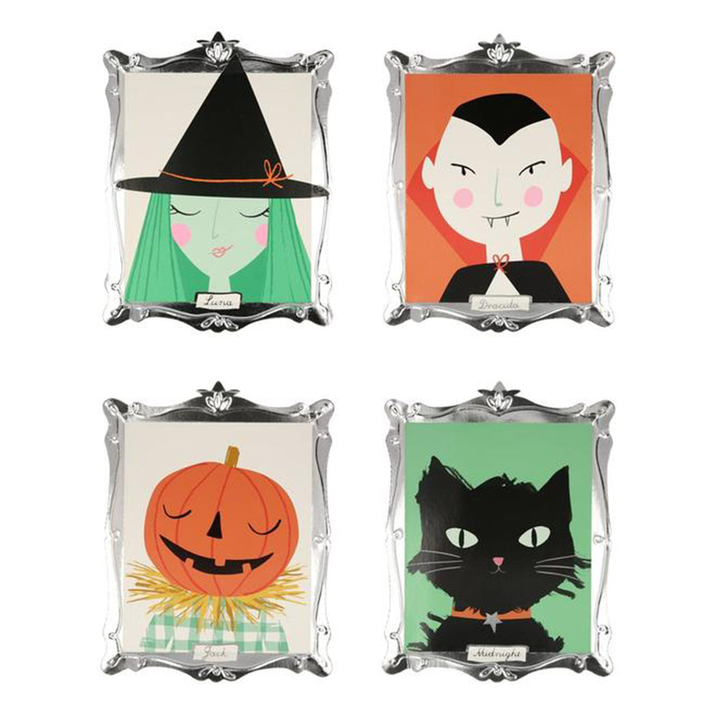 meri meri halloween motif frame plates halloween party supplies four designs