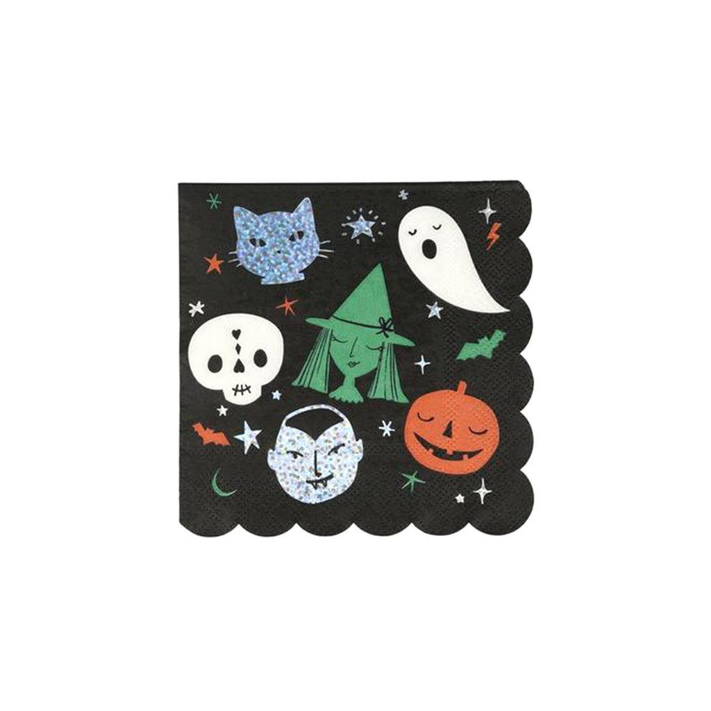 meri meri halloween motif small napkins with scallop edge halloween party supplies
