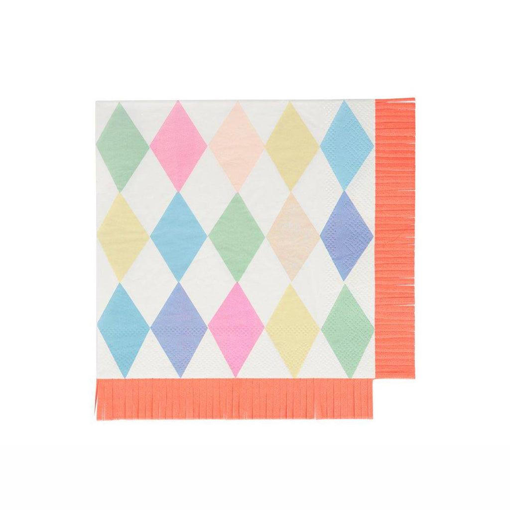 meri meri large circus bright pastel harlequin patterned party napkin with neon orange fringe edges