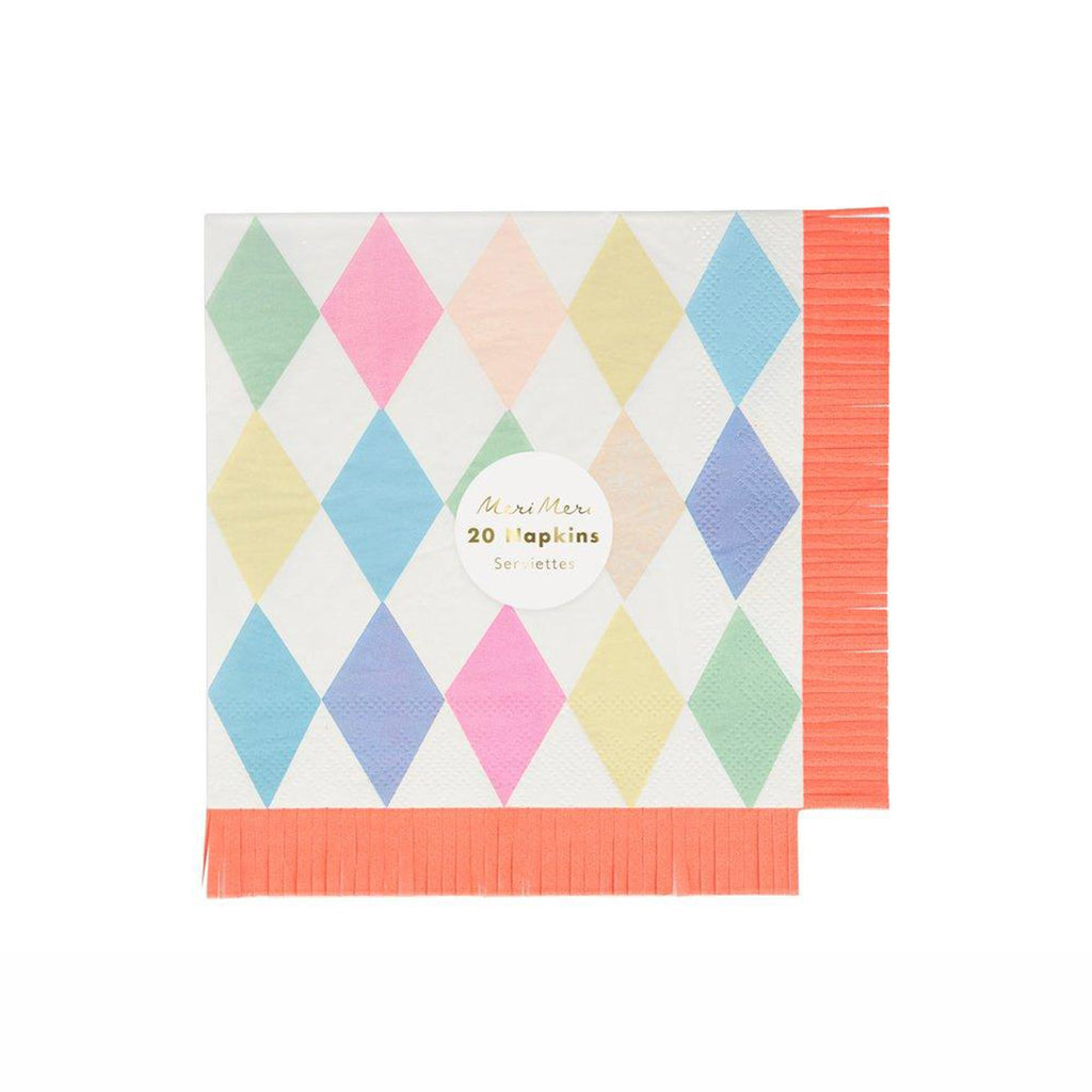 meri meri large circus bright pastel harlequin patterned party napkins with neon orange fringe edges in packaging