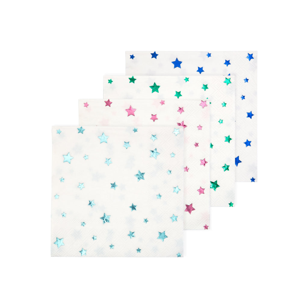 meri meri multicolored metallic foil star holiday party napkins color options