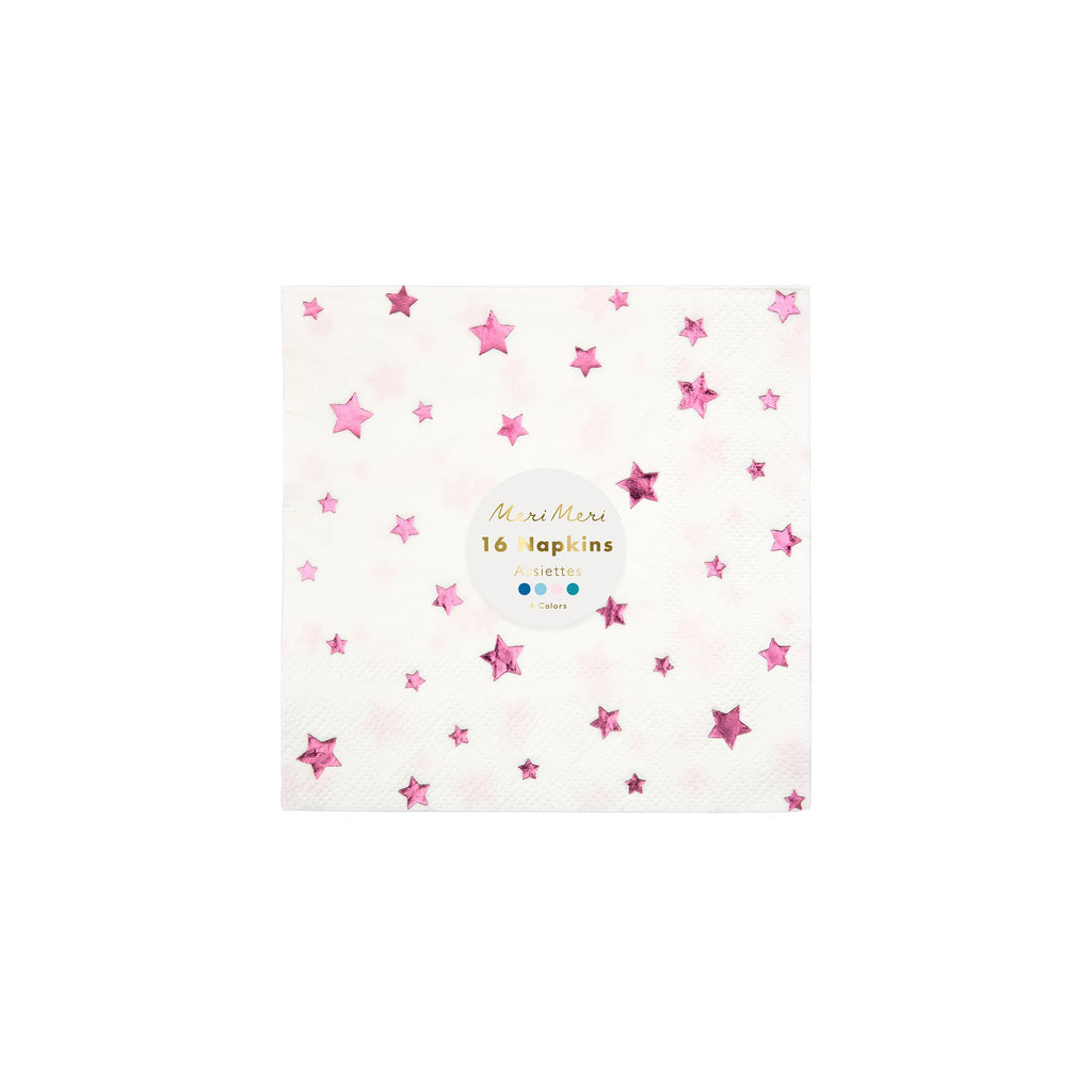 meri meri multicolored metallic foil star holiday party napkins packaging