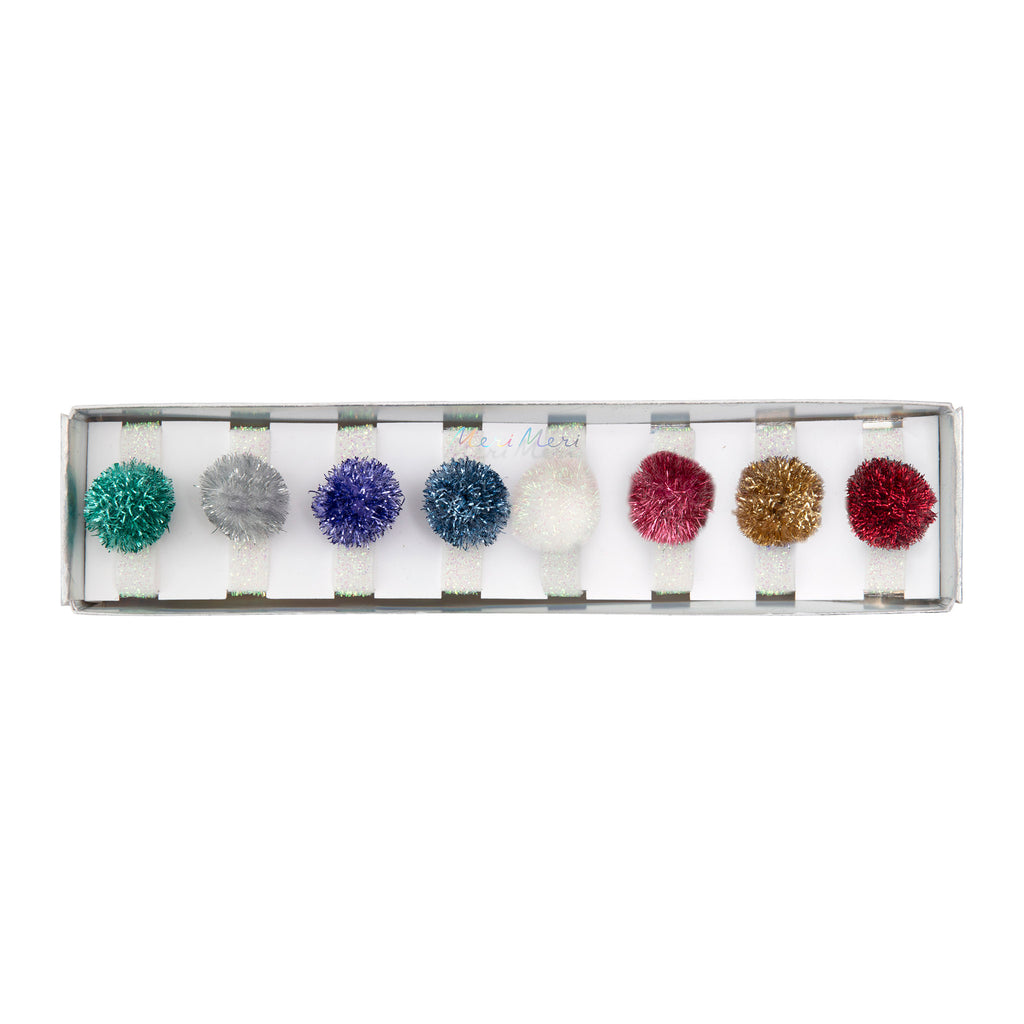 meri meri metallic tinsel pompom hair elastic ties packaging