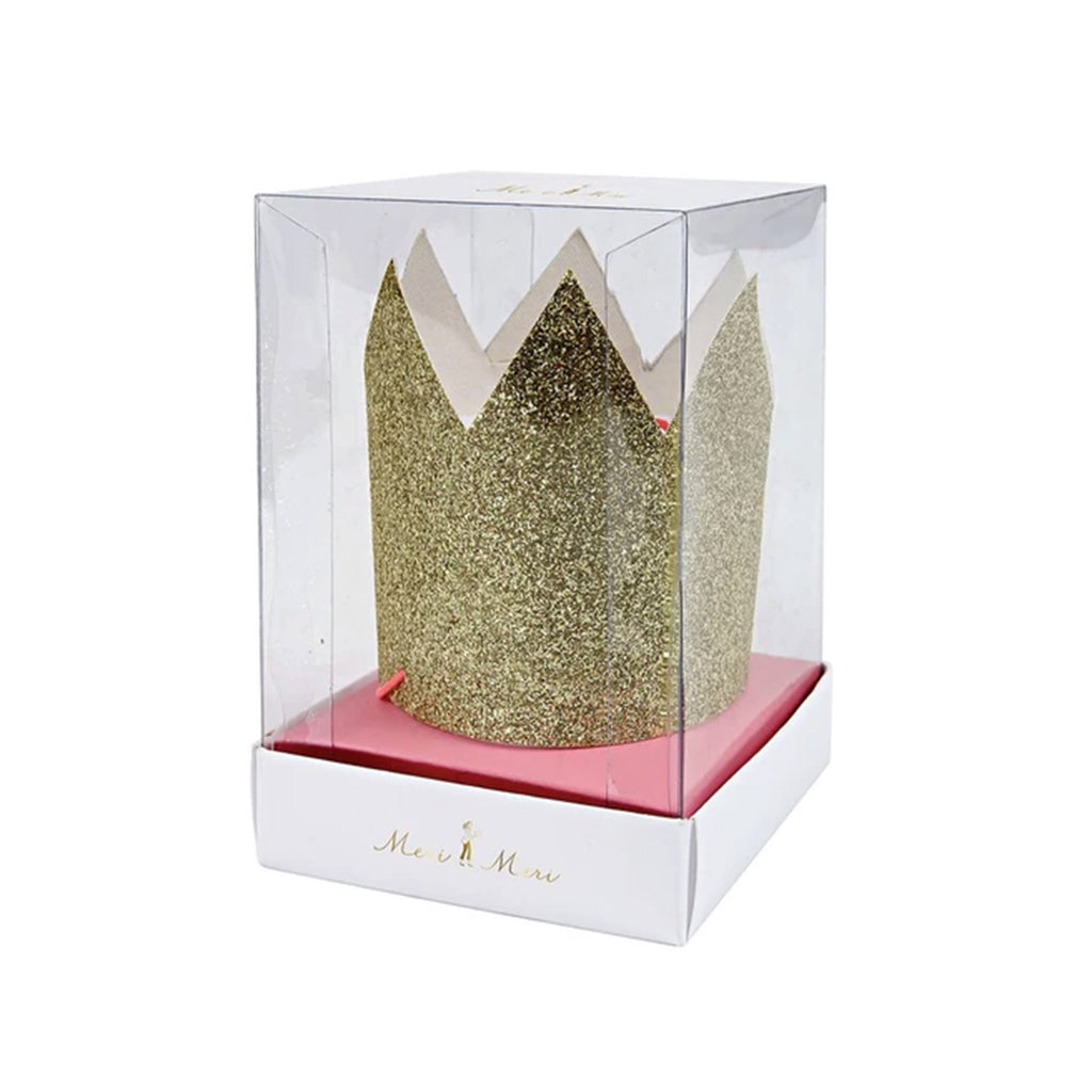 meri meri mini gold glitter crowns in packaging birthday party supplies